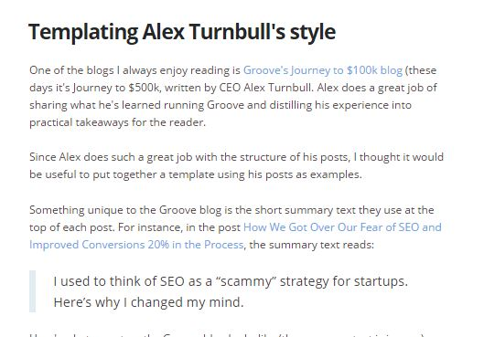 alex turnbull, ghost blog, outline, write faster and better , best blog writing templates, gerome soriano, growth bloggers